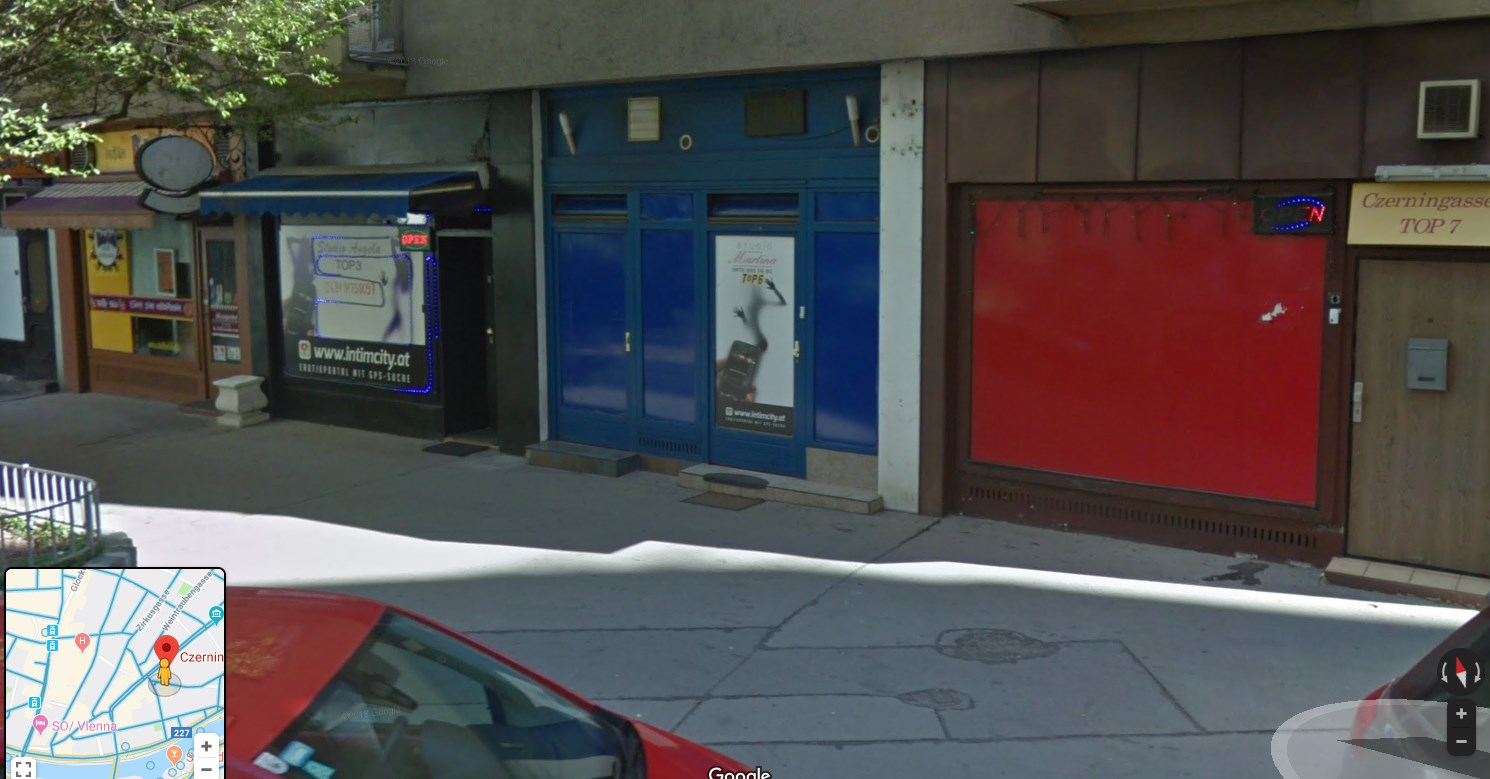 The entrance of one of the worst studios in Vienna, Studio Czerningasse 1 on Google Street View